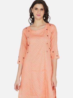 Cotton Peach Fancy Party Wear Kurti