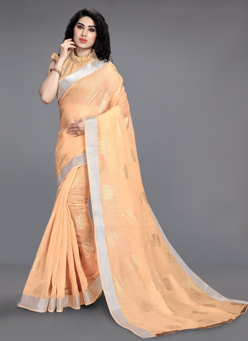 Cotton Peach Foil Print Printed Saree