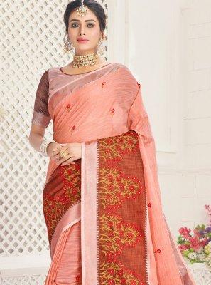 Cotton Peach Trendy Saree