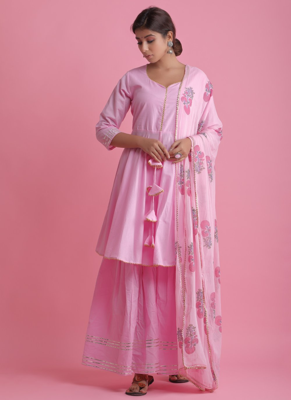 Cotton Pink Block Print Readymade Suit