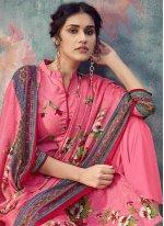 Cotton Pink Designer Palazzo Suit