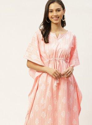 Cotton Pink Print Party Wear Kurti