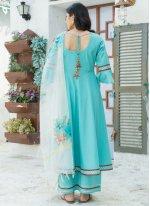 Cotton Plain Aqua Blue Readymade Salwar Kameez