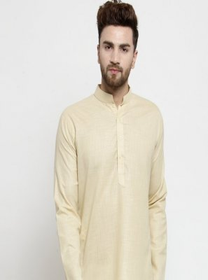 Cotton Plain Beige Kurta Pyjama