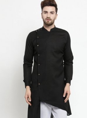 Cotton Plain Black Kurta Pyjama