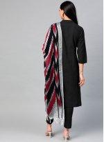 Cotton Plain Black Readymade Suit
