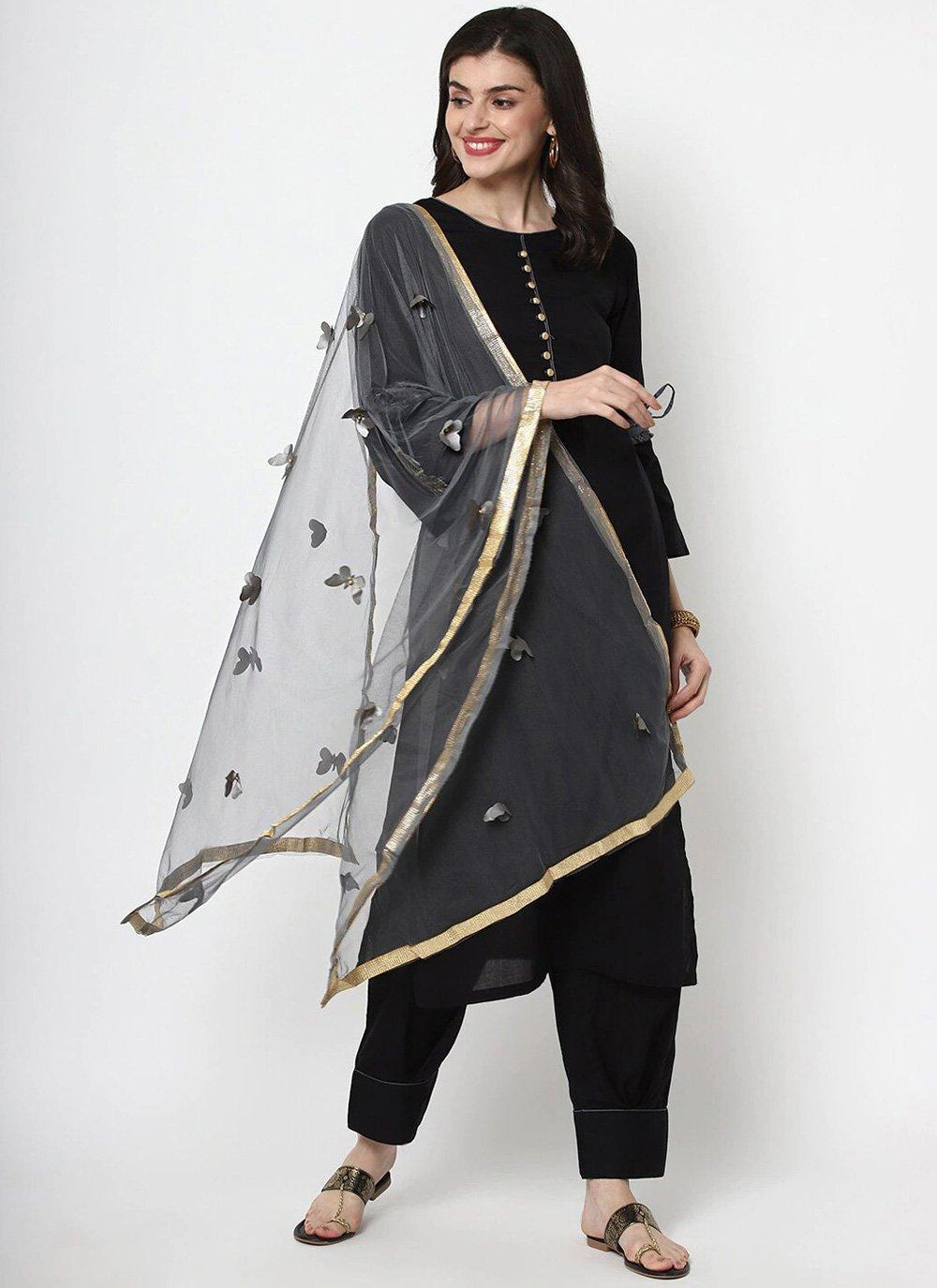 Cotton Plain Black Trendy Salwar Suit