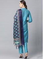 Cotton Plain Blue Bollywood Salwar Kameez