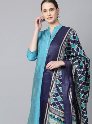 Cotton Plain Blue Bollywood Salwar Kameez