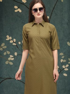 Cotton Plain Casual Kurti in Green