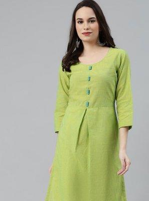 Cotton Plain Green Party Wear Kurti