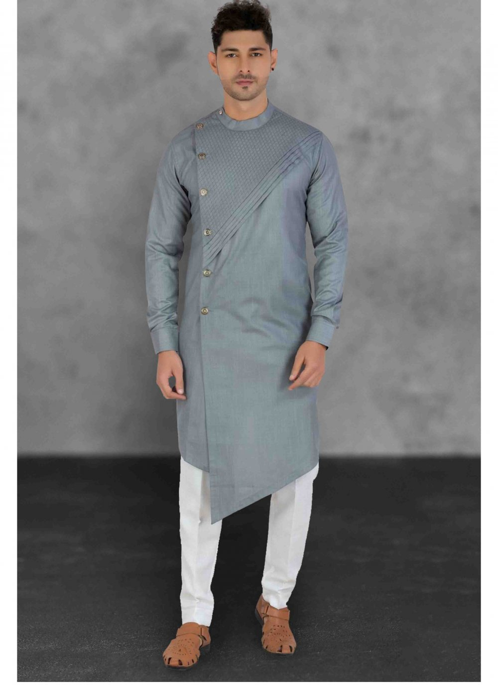 Cotton Plain Grey Kurta Pyjama