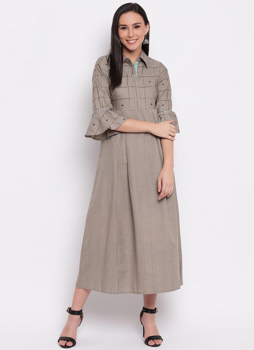 Cotton Plain Grey Party Wear Kurti