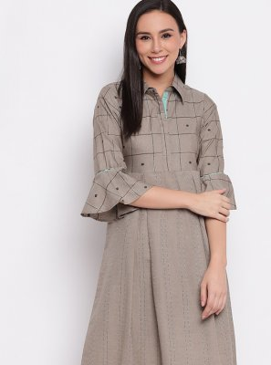 Cotton Plain Grey Party Wear Kurti