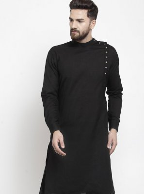 Cotton Plain Kurta Pyjama in Black
