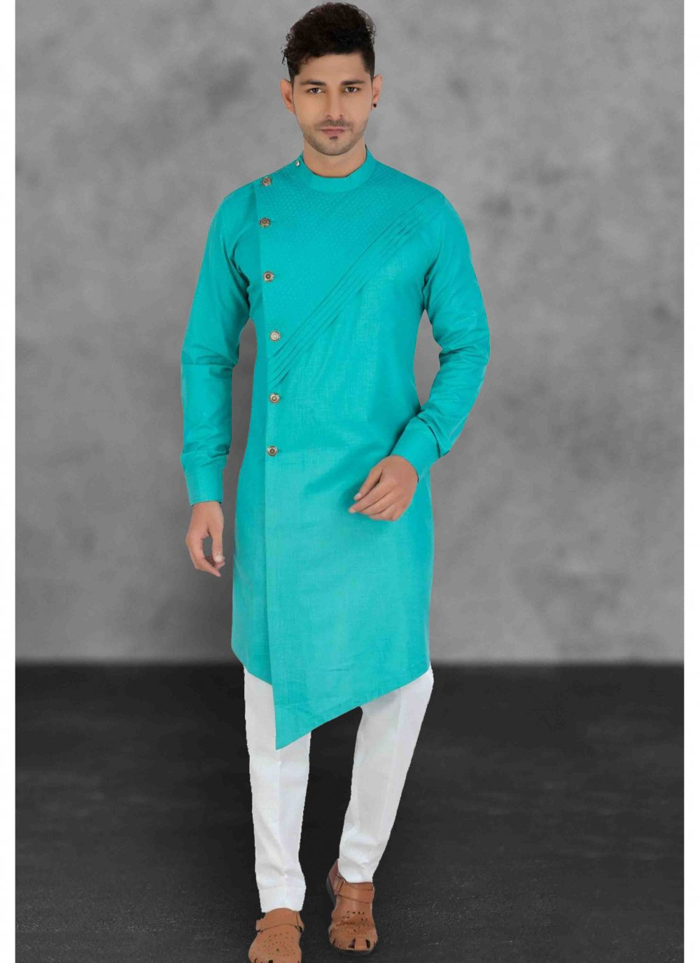 Cotton Plain Kurta Pyjama in Green
