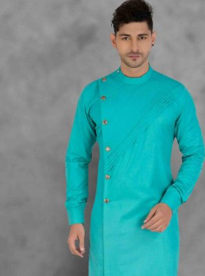 Cotton Plain Kurta Pyjama in Green
