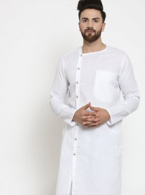 Cotton Plain Kurta Pyjama in White