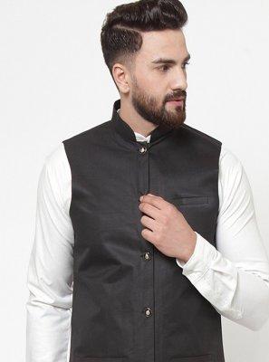 Cotton Plain Nehru Jackets in Black