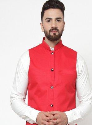 Cotton Plain Nehru Jackets in Hot Pink