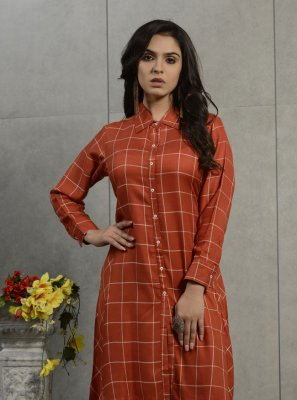 Cotton Plain Orange Party Wear Kurti