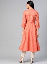 Cotton Plain Party Wear Kurti in Orange
