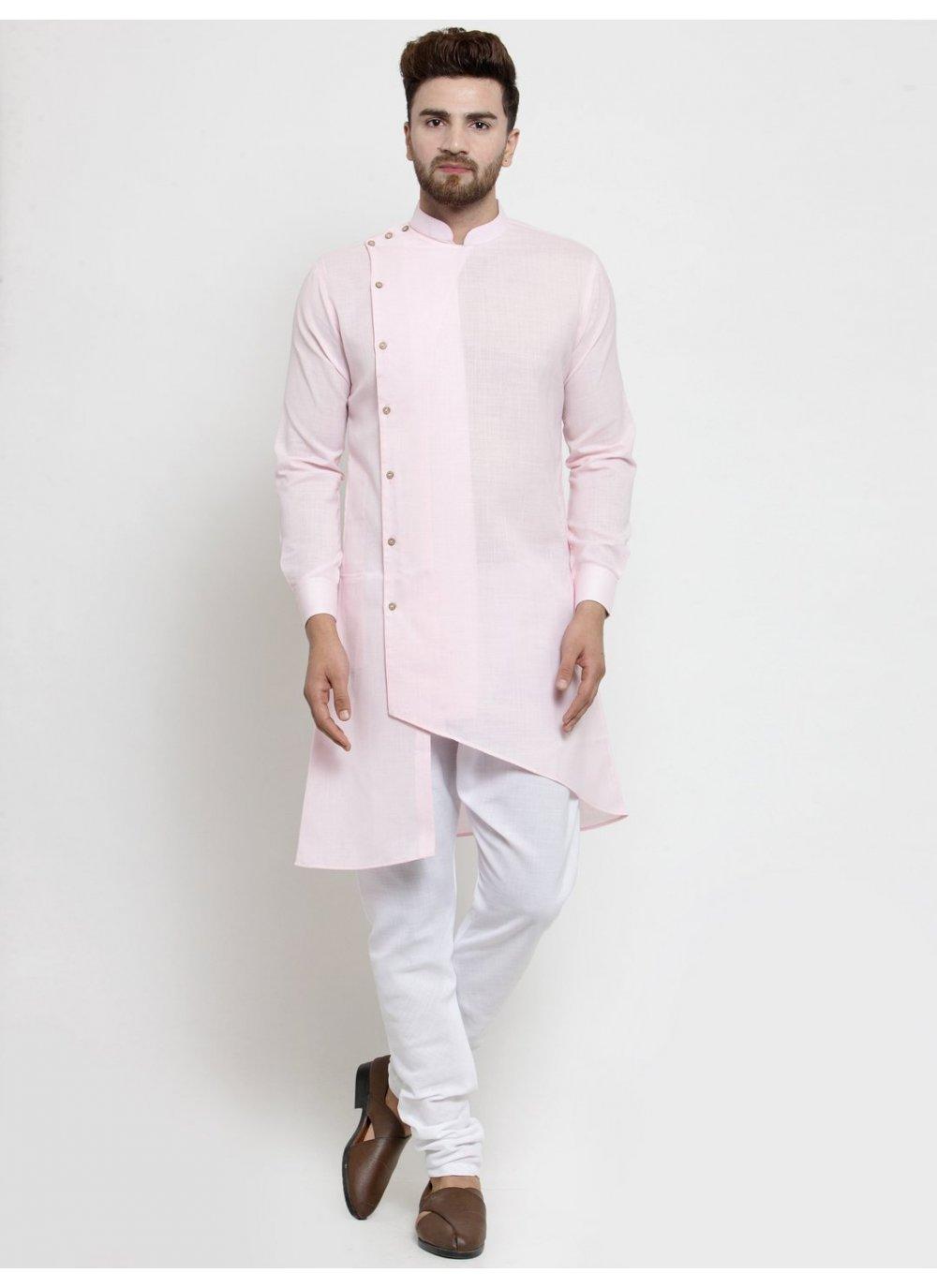 Cotton Plain Pink Kurta Pyjama