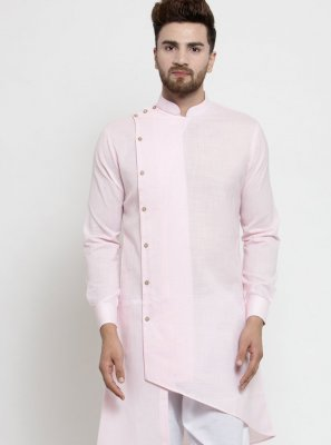 Cotton Plain Pink Kurta Pyjama