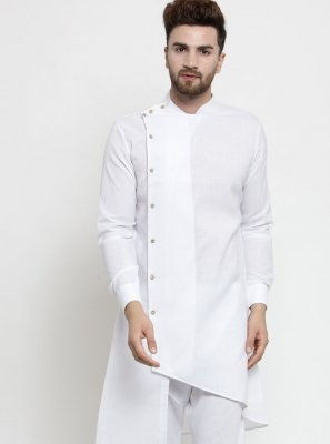 Cotton Plain White Kurta Pyjama