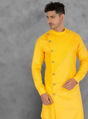 Cotton Plain Yellow Kurta Pyjama
