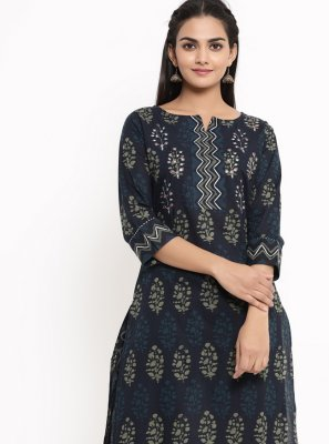 Cotton Print Blue Party Wear Kurti
