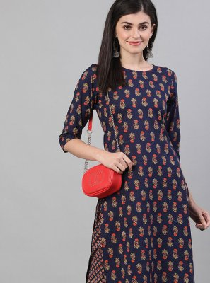 Cotton Print Designer Kurti in Navy Blue