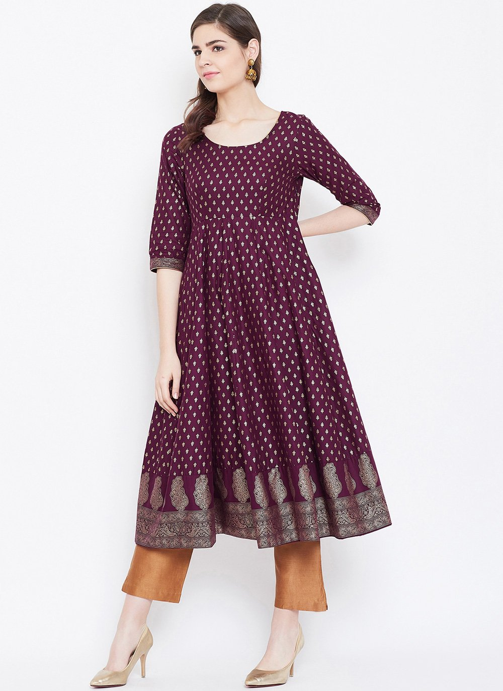 Cotton Print Designer Kurti in Purple