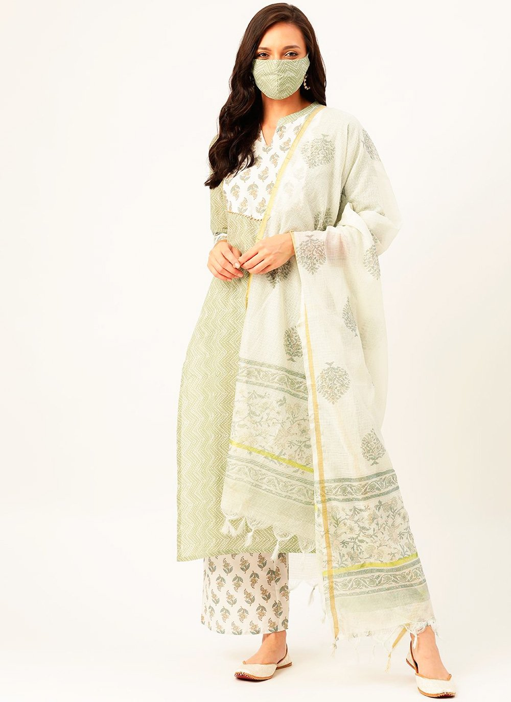 Cotton Print Green Readymade Suit