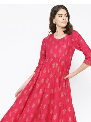 Cotton Print Hot Pink Designer Kurti