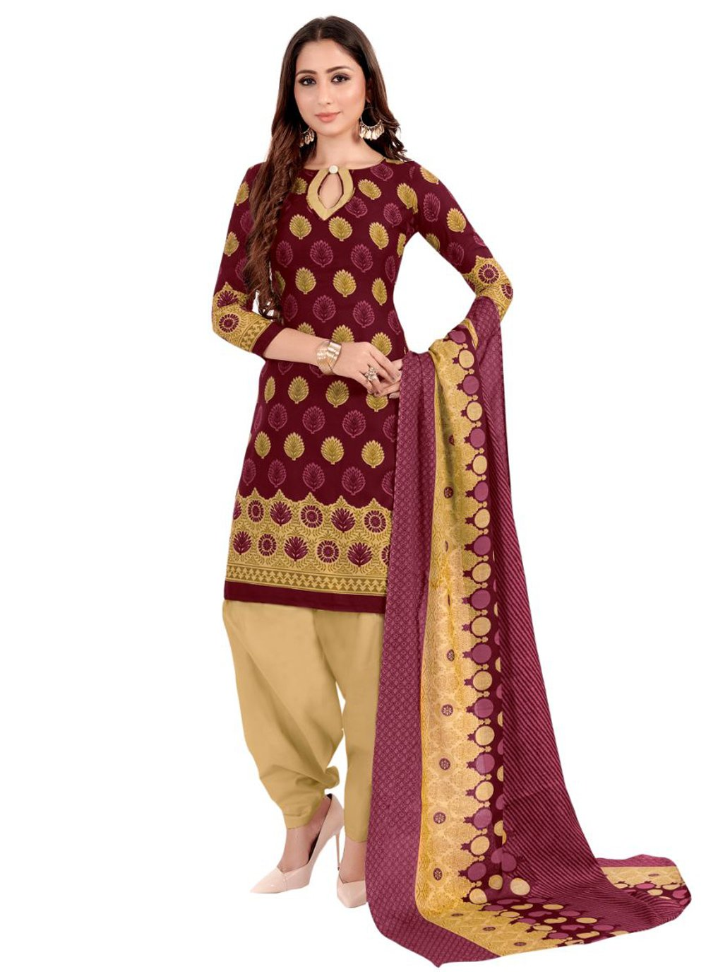 Cotton Print Magenta Punjabi Suit