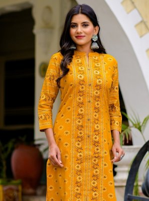 Cotton Print Mustard Party Wear Kurti