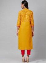 Cotton Print Mustard Party Wear Kurti