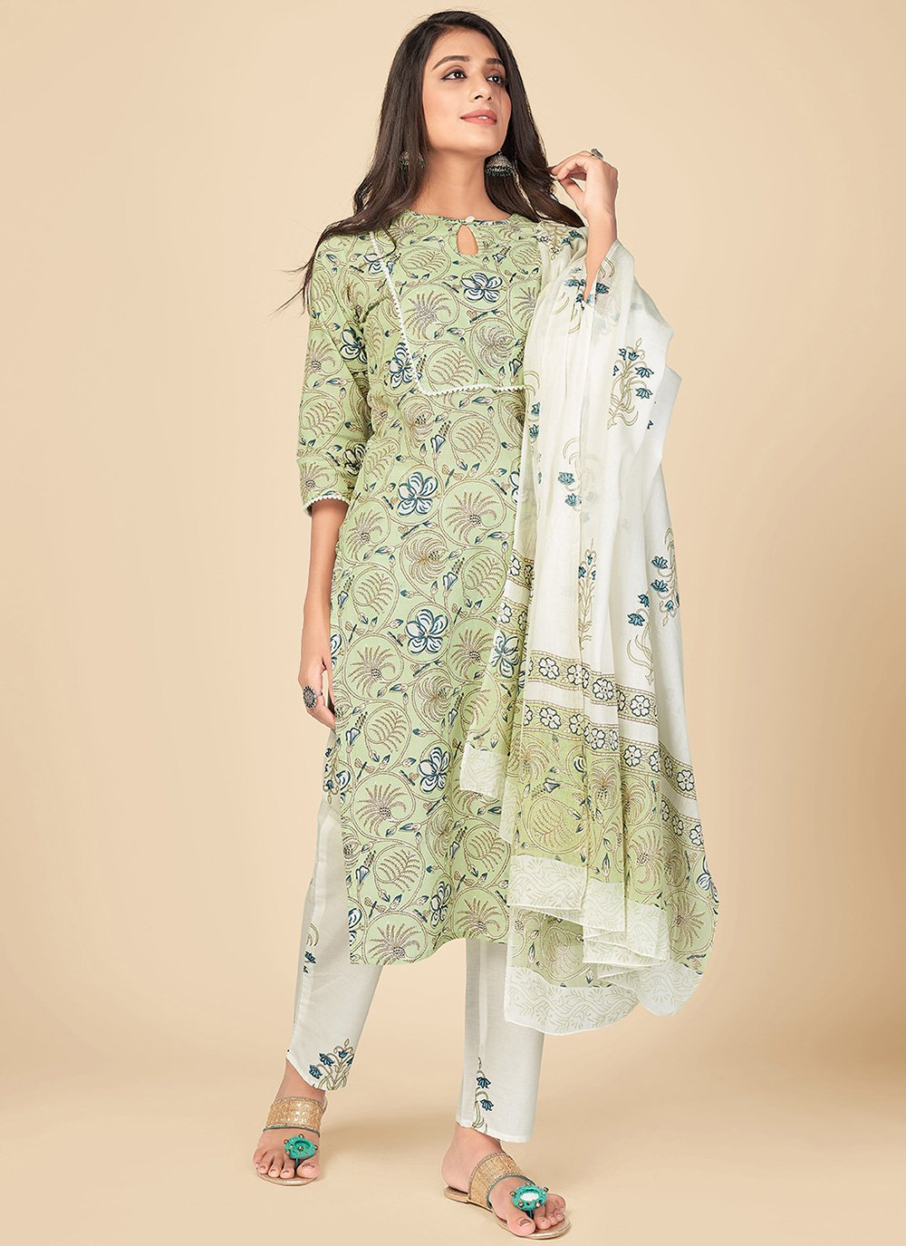 Cotton Print Pant Style Suit in Green