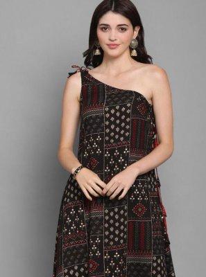 Cotton Print Party Wear Kurti in Black