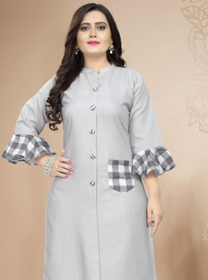 Cotton Print Party Wear Kurti in Grey