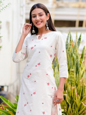Cotton Print Party Wear Kurti in Off White
