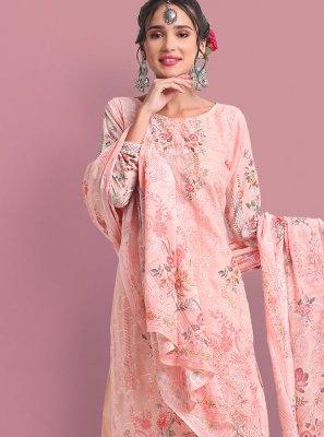 Cotton Print Peach Designer Palazzo Suit