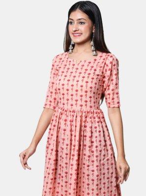 Cotton Print Pink Casual Kurti