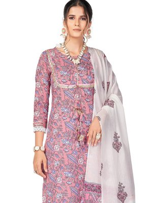 Cotton Print Pink Readymade Suit