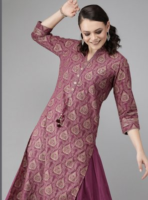 Cotton Print Purple Party Wear Kurti