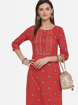 Cotton Print Red Party Wear Kurti
