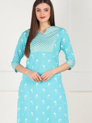 Cotton Printed Aqua Blue Designer Kurti
