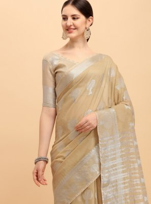 Cotton Printed Beige Casual Saree