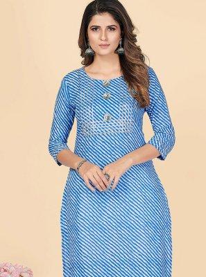 Cotton Printed Blue Party Wear Kurti
